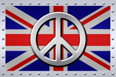 Chrome peace symbol layered atop a metallic look Union Jack british flag  Framed and edged with a riveted aluminum sheet  Stock Photo