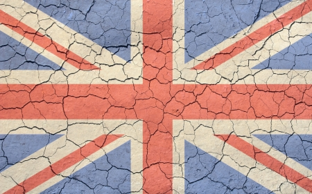 Faded, cracked, and aged texture union jack, british flag  Stock Photo