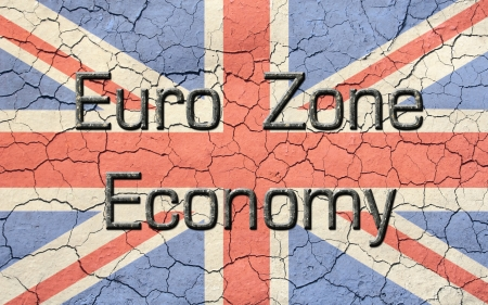 eurozone: Faded, cracked, and aged texture union jack, british flag  Old metallic looking atop reads Euro Zone Economy