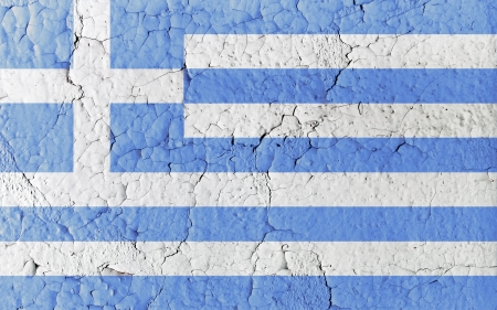eurozone: Greek flag in aged, textured, crackled vintage paint