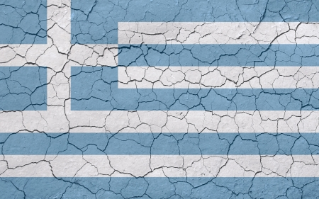 monetary policy: Faded, cracked, and aged texture, greek flag