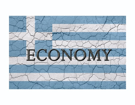 Faded, cracked, and aged texture, greek flag, with the word economy atop, which has a dark metallic chizeled look
