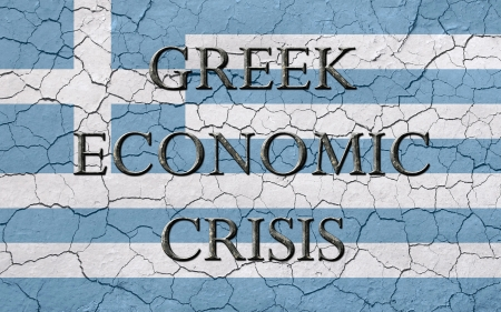 monetary policy: Faded, cracked, and aged texture, greek flag, with the words greek economic crisis, which has a dark metalic chizeled look