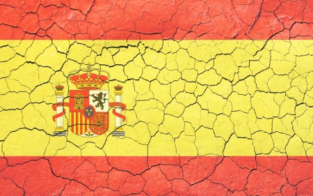 Faded, cracked, and aged texture, spanish flag   Stock Photo