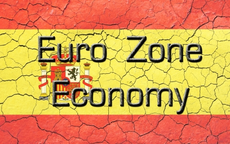 Cracked and faded spanish flag with euro zone economy text atop  Text resembles or has a cast iron appearance