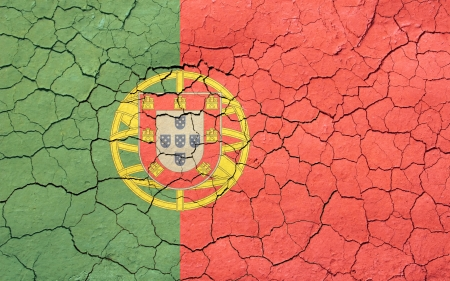 Faded, cracked, and aged texture, portuguese flag
