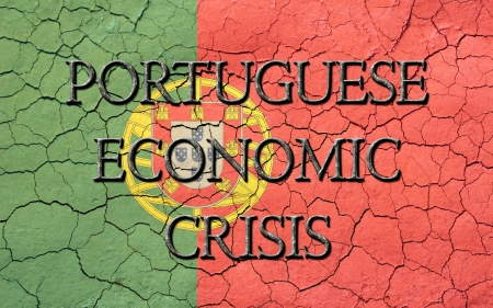 Faded, cracked, and aged texture, portuguese flag, with the word s Portuguese Economic Crisis, which has a dark metallic chiseled look