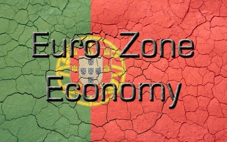 chiseled: Faded, cracked, and aged texture, portuguese flag, with the word s Euro Zone Economy, which has a dark metallic chiseled look