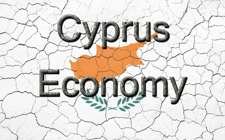 chiseled: Faded, cracked, and aged texture, Cyprus flag, with the words Cyprus Economy, in a  dark metallic chiseled look.