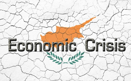 eurozone: Faded, cracked, and aged texture, Cyprus flag, with the words economic crisis, in a  dark metallic chiseled look.  Stock Photo