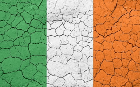 Faded, cracked, and aged texture,flag of Ireland.