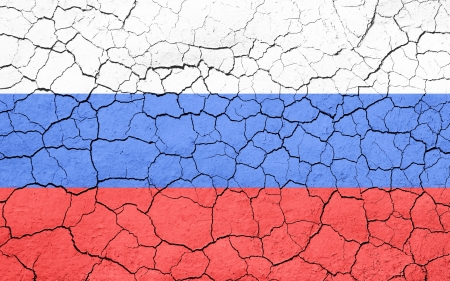 Faded, cracked, and aged texture, Russian flag.