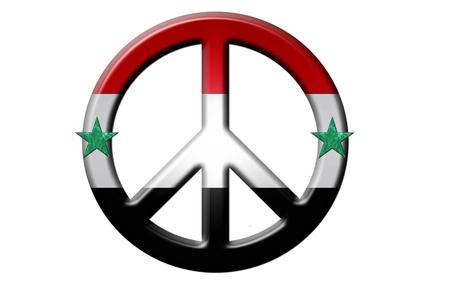 Metallic 3d kijken syrische vredesteken met kleuren en sterren uit de Syrische vlag. Stockfoto