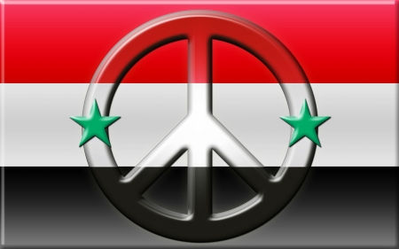 Shiny metallic look syrian flag with peace sign at flag center.