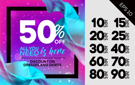 Bright Vector Sale Template with Flying Silk on Colorful Background and Bokeh Effect. Advertising For Cloth Shop, Web Banner, Pop-up, Poster, Flyer.