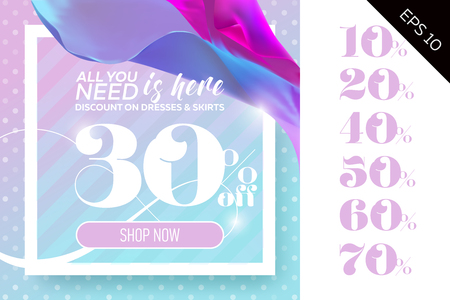 discount banner: Vector Sale Template with Flying Silk on Polka Dot Pastel Background. Spring Elegant Advertising For Cloth Shop, Fabric Store, Web Banner, Pop-up, Poster, Flyer. Illustration