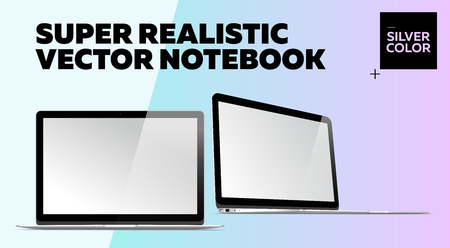 Super Realistic Vector Notebook with Blank Screen. Silver Color. Isolated Mockup with Thin Laptop for Web, Website, User Interface. Front and Side View, Macbook Style.