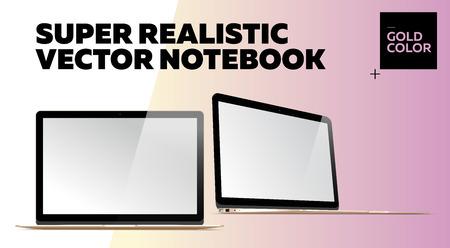 Notebook Super Vector Realistic con Schermo Bianco. Color oro. Mockup isolato con sottile computer portatile per Web, sito web, interfaccia utente. Vista anteriore e laterale, stile Macbook. Vettoriali