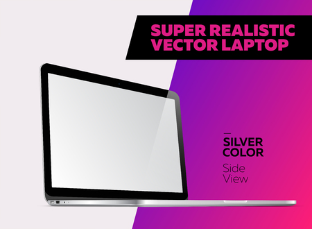 Super Realistic Vector Notebook with Blank Screen. Silver Color. Isolated Mockup with Laptop for Web, Website, User Interface. Side View, Macbook Style.