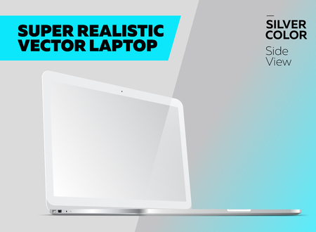 Super Realistic Vector Notebook with Blank Screen. Silver Color, White Display. Isolated Mockup with Laptop for Web, Website, User Interface. Side View, Macbook Style.