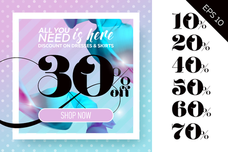 Vector Sale Template with Flying Silk on Polka Dot Pastel Background. Spring Elegant Advertising For Cloth Shop, Fabric Store, Web Banner, Pop-up, Poster, Flyer. Illustration