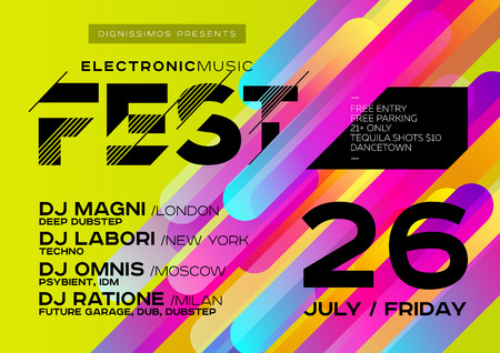 Bright DJ Poster for Open Air. Electronic Music Cover for Summer Fest or Club Party Flyer. Colourful Green Background with Trendy Geometric Shapes. A4 Horizontal orientation. Techno, Dub, Dubstep.