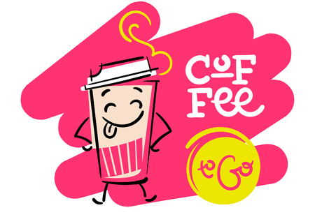 Coffee To Go, Funny and Colorful Hand Drawn Illustration, Paper Coffee Cup Character Shows the Tongue Cartoon Style; Flat Graphic for Logo for Coffee Shop or Cafe Menu.
