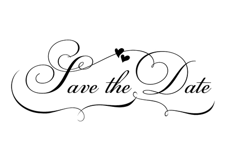Save the Date. Vector Handmade Calligraphy with Twirl and Two Hearts. Elegant Hand Drawn Lettering for Title, Heading, Photo Overlay, Wedding Invitation. Black Text Isolated on White.
