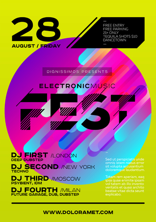 Bright DJ Poster for Summer Festival. Minimal Electronic Music Cover for Fest. Colorful Green Background with Trendy Geometric Shapes. A4 Vertical Orientation. Techno, Dub, Dubstep, House, Trance. Illustration