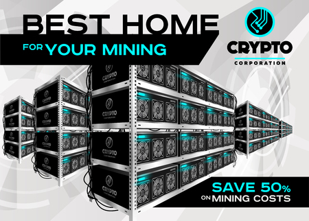 Detailed Vector Illustration of Bitcoin Mining Farm in Perspective. Racks of Mining Machines at Server Farm. Banner for Cryptocurrency Market, Blog, Article, Advertising. Bitcoin, Ethereum, Litecoin. Illustration