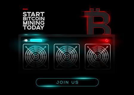 Detaillierte Vektor-Illustration von Bitcoin Miners und Red Bitcoin Logo auf schwarzem Hintergrund. Glühender Bergbau-Computer. Banner für Kryptowährungsmarkt, Artikel, Werbung.