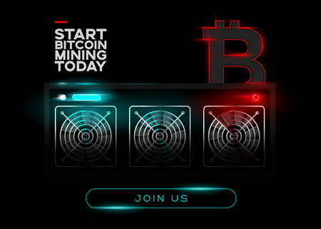 Detailed Vector Illustration of Bitcoin Miners and Red Bitcoin Logo on Black Background. Glowing Mining Computer. Banner for Cryptocurrency Market, Article, Advertising.