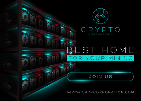 Detailed Vector Illustration of Bitcoin Mining Farm in Dark Room. Rack of Glowing Mining Computers. Banner for Cryptocurrency Market, Article, Advertising. Bitcoin, Ethereum, Litecoin.