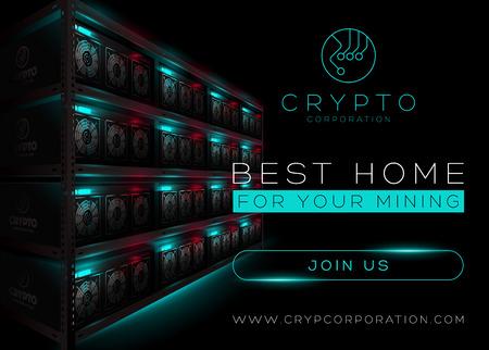 Szczegółowa Wektorowa ilustracja Bitcoin górnictwa gospodarstwo rolne w Ciemnym pokoju. Rack of Glowing Mining Computers. Baner dla rynku kryptowalut, artykuł, reklama. Bitcoin, Ethereum, Litecoin.