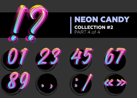 glitch: Vector Neon Character Typeset. Glowing Numbers on Dark Background. Glitch Effect. Shining Candy Alphabet. Hand Drawn Retro Font for Summer Poster, Night Club Banner, Sale Banner.