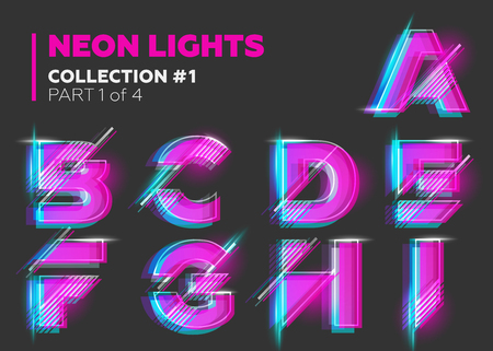 Vector Neon Character Typeset. Glowing Letters on Dark Background. Glitch Effect. Pink, Blue, Purple Overlay Layers with Stroke. Futuristic Font for DJ Music Poster, Night Club Banner, Sale Banner, Summer Fest.