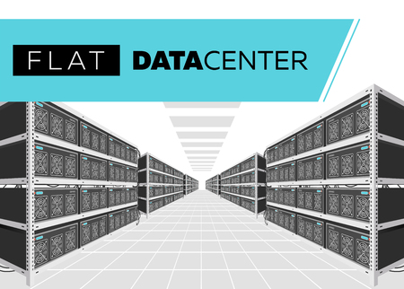 Flat Vector Isolated Illustration of Data Center in Perspective. Grey Computer Racks. Bitcoin Mining Farm, Exchange Service. Web Hosting Provider. Data Storage. Network Internet Database.