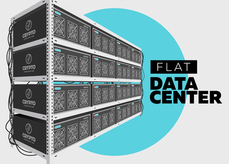 Flat Vector Isolated Illustration of Data Center in Perspective. Grey Computer Rack. Bitcoin Mining Farm, Exchange Service. Web Hosting Provider. Data Storage. Network Internet Database. Stock Vector - 81621280