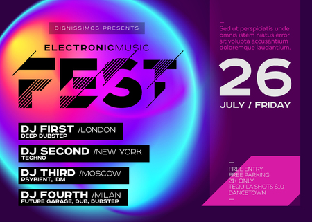 Bright Festival Poster. Electronic Music Cover for Summer DJ Fest or Club Party Flyer. Vibrant Fluid Background. Creative Colorful Concept. Techno, Dub, Dubstep, Trance, Psy, House.