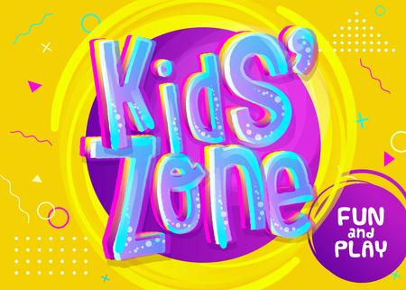 Banner de vector de zona de niños en estilo de dibujos animados. Ilustración brillante y colorida para la decoración de la sala de juegos para niños. Muestra divertida para la sala de juegos para niños. Fondo amarillo con patrón infantil. Ilustración de vector