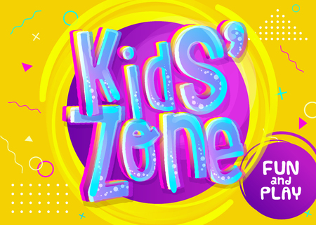 Kids Zone Vector Banner in Cartoon Style. Bright and Colorful Illustration for Childrens Playroom Decoration. Funny Sign for Kids Game Room. Yellow Background with Childish Pattern. Иллюстрация