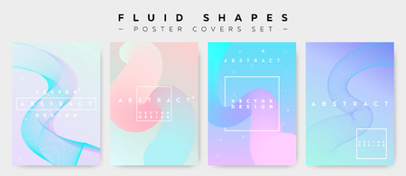 Poster Covers Set with Fluid Shapes. Modern Hipster Memphis Pattern. Minimalistic Vector Illustration for Placard, Flyer, Banner, Report, Presentation. Abstract Futuristic Design with Colorful Waves.