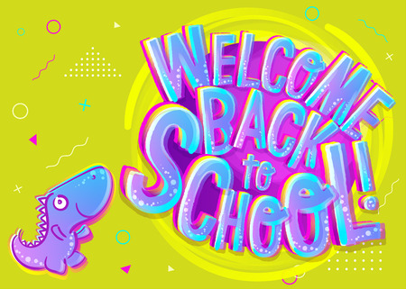 Vector Illustration of Welcome Back to School Cartoon Banner. Colorful and Bright Poster for Knowledge Day in September with Funny Dinosaur Character. School Theme Design Template.