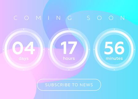 カウント ダウン タイマーのベクター イラストです。青の抽象的な流体背景デザインでデジタル時計。未来のウェブサイト、インターフェイス、壁  イラスト・ベクター素材