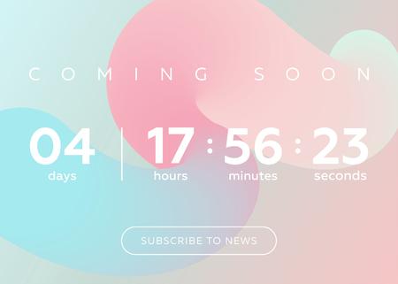 カウント ダウン タイマーのベクター イラストです。パステルの抽象的な流体背景デザインでデジタル時計。未来のウェブサイト、インターフェイ