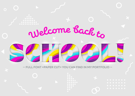 school class: Vector Illustration of Welcome Back to School Inscription. Colorful and Bright Banner, Trendy Bright Paper Art Style. 3D Paper Cut Shapes. Geometric Background. School Theme Design Template.