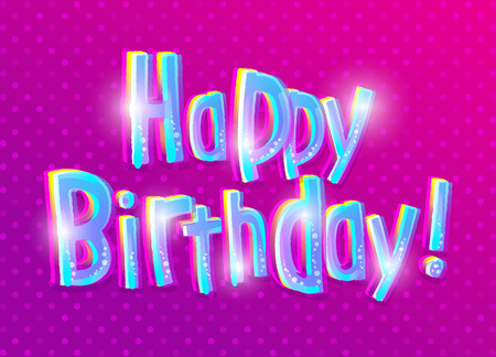 illustrating: Happy Birthday greeting card. Fun vector illustrating cartoon letters on purple background with polka dot pattern.