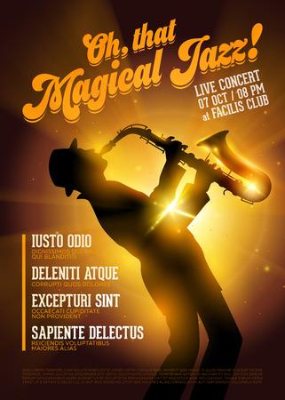 Vector Jazz Poster isolato. Siluetta del sassofono contro una luce dell'oro della fase. Vettoriali