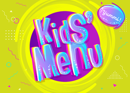 Kids' Menu Sign in Cartoon Style. Bright and Colorful Illustration for Childrens Restaurant.