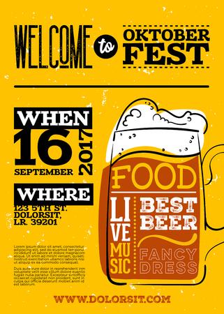 옥토버 페스트 포스터에 오신 것을 환영합니다. 세로 또는 세로 방향. 벡터 손으로 그려진 맥주 머그잔 노란색 오래 된 레트로 레터 질감에 레터와 함